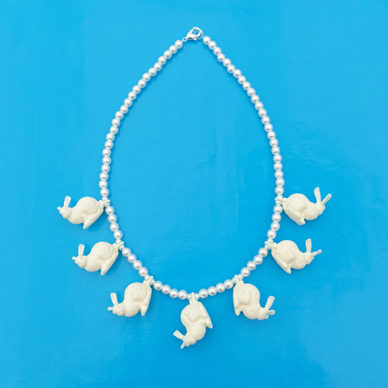 3D necklace rabbit white 72