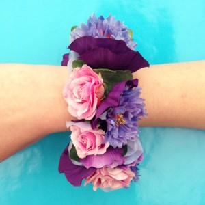 bracelet flower silk pinkpurple