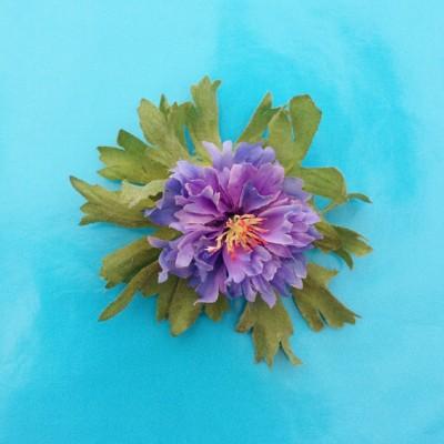 brooch flower silk purple