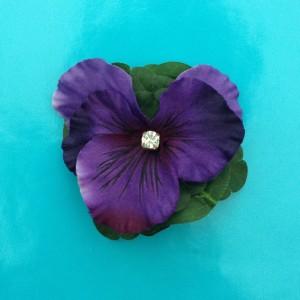 brooch flower silk violet