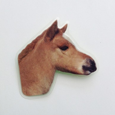 brooch lam horse brown