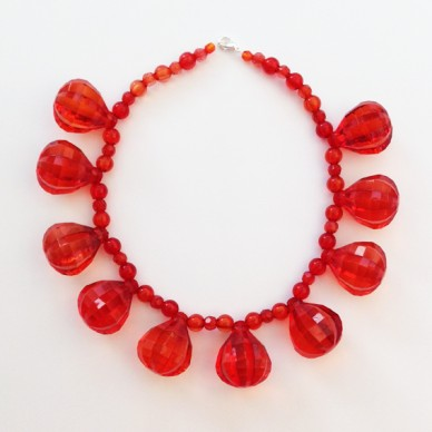 necklace shine red large