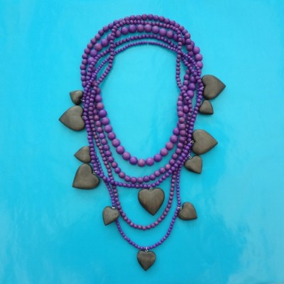 necklace wood heart purple