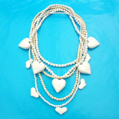 necklace wood heart white