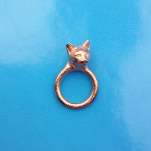 ring cat head gold