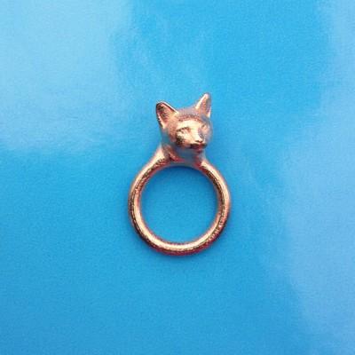 ring cat head gold