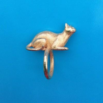 ring cat lying gold