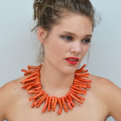 necklace coral orange 72