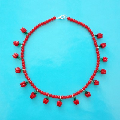 100 necklace glass red paprika 72