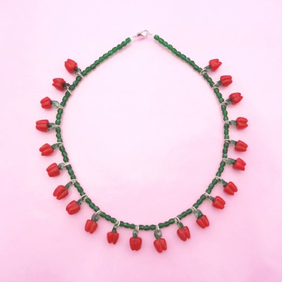 101 necklace glass red pepper 72