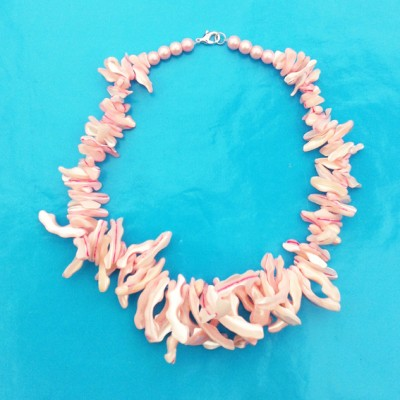 109necklace shine shell pink 72 - kopie