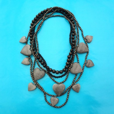 2 necklace wood heart snake large 72
