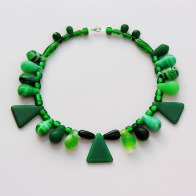 43 necklace glass drop green 72 - kopie