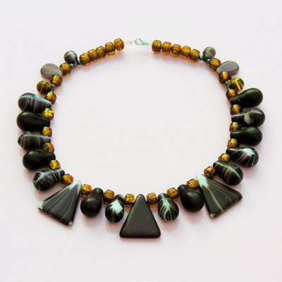 45 necklace glass drop brown 72 - kopie