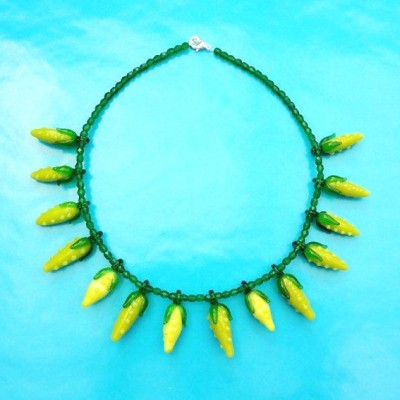 63 necklace glass yellow fruit 72 - kopie