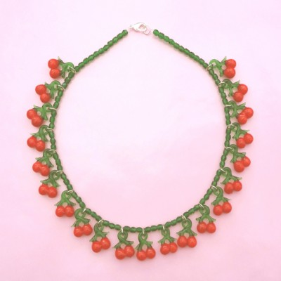 65 necklace glass cherry 72 - kopie