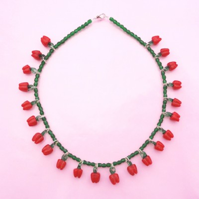 66 necklace glass red pepper 72 - kopie