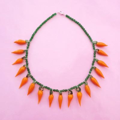 68 necklace glass orange pepper 72 - kopie