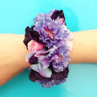 bracelet flower silk purple 72