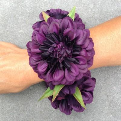bracelet flower silk purple dark 2 72