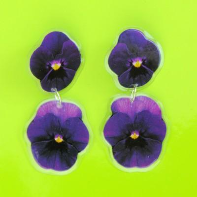 earring purple violets 72