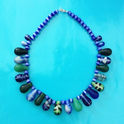 necklace drop glass bluegreen 72