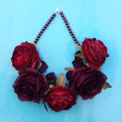 necklace flower darkpurplered 72