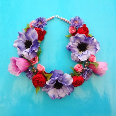 necklace flower purple combi 72