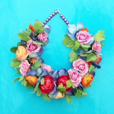 necklace flower silk colors 1 72