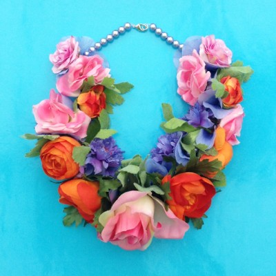 necklace flower silk colors 72
