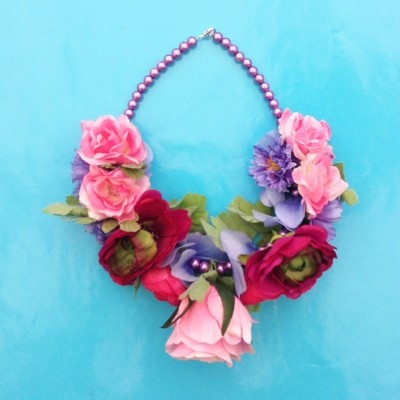 necklace flower silk pink 2 72