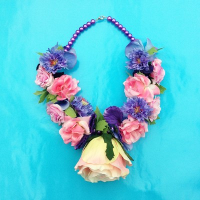 necklace flower silk pinkpurple rose 72