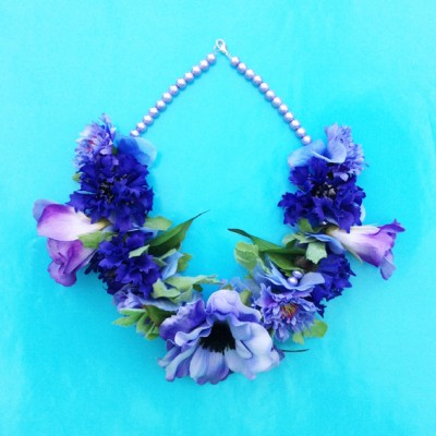necklace flower silk purple 72