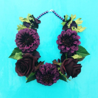 necklace flower silk purpledark 72