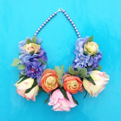 necklace flower silk purplepink 72