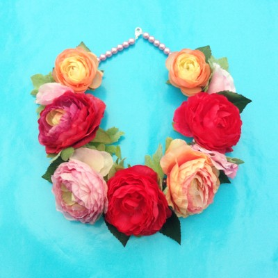 necklace flower silk redpink 72