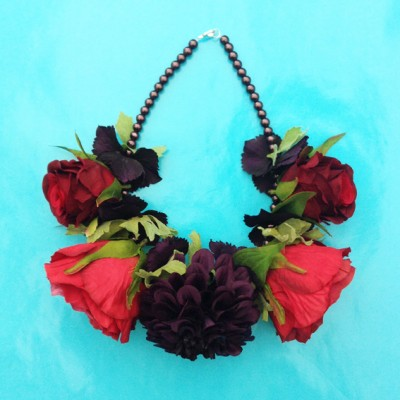 necklace flower silk redpurple 72