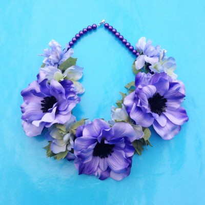 necklaec flower silk purple 72