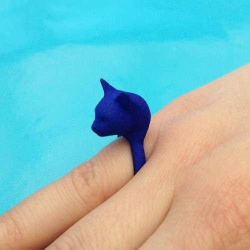 ring cat head blue 72 kopie 2