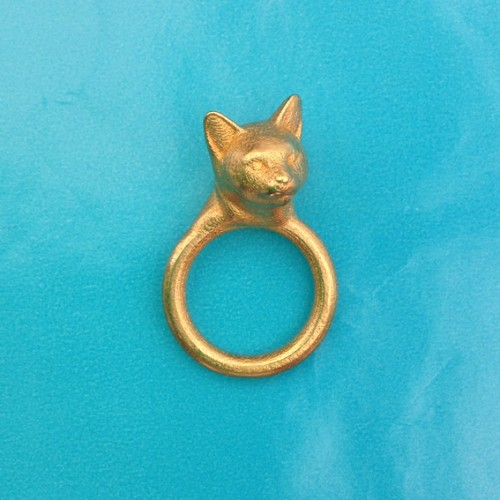 ring cat head gold OK 72