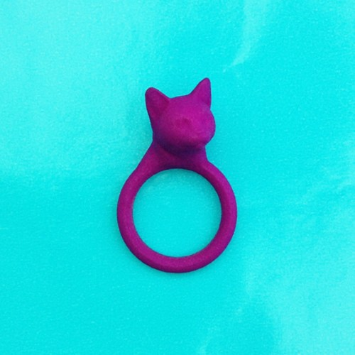 ring cat head purple 72