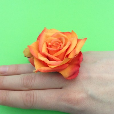 ring flower rose orange finger 72