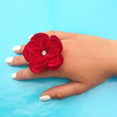 ring flower silk red arm 72