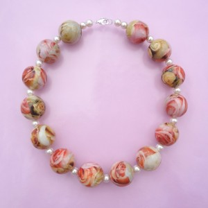 necklace ball flower pink 72