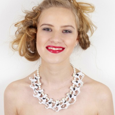 necklace cat white 72
