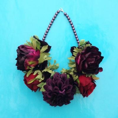 necklace flower silk darkpurplered 72