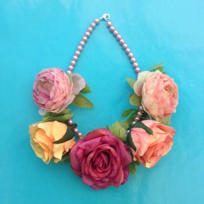 necklace flower silk pink red 1 72