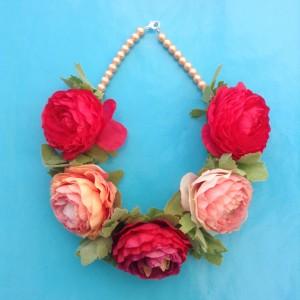 necklace flower silk pink red soft 72