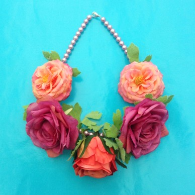 necklace flower silk pink soft 72