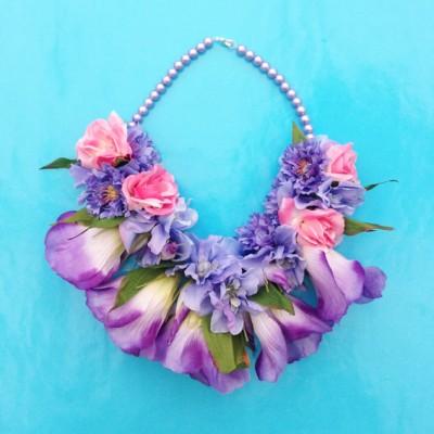 necklace flower silk purple 2 72